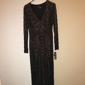 Brand New Xscape long black and gold gown
